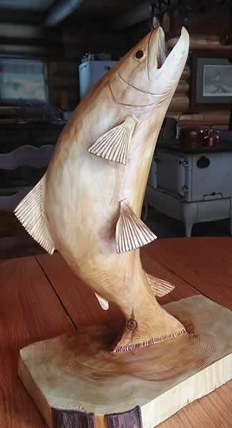 wood hand carved jumping trout