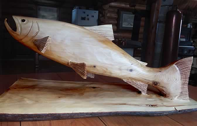 Hand carved wooden salmon